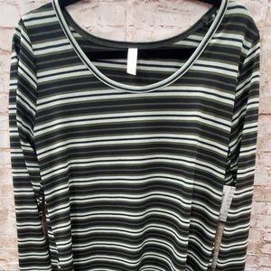 LULAROE  XL Green Striped Lynnae NWT